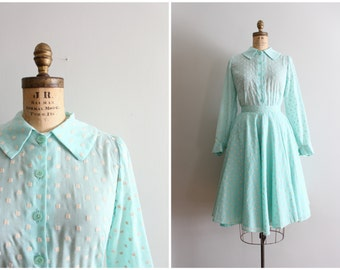 mint green 1950s dress set - flocked cotton blouse & full skirt / Sweet Kawaii - dotted swiss 2 piece dress / 1950s pastel skirt set