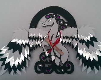 Dreaming of Pegasus Greeting Card (Black and White Edition)