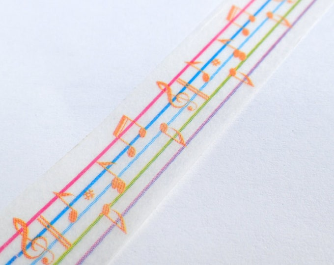 Musical Notes Washi Tape - Rainbow Sheet Music Paper Tape Great for Scrapbooking Paper Crafts and Decorations - 15mm x 10m