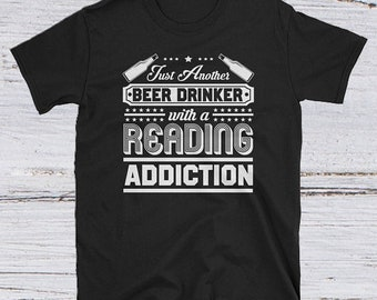 Beer and Reading -  journalism tshirt - funny writer tee - cool bookworm tee - funny literature tee - bibliophile book tee - bookshelf shirt