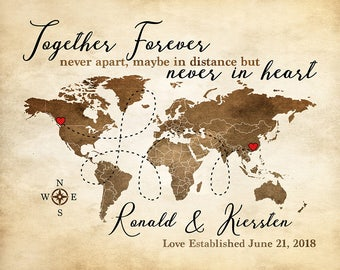 Long Distance Relationship Gift Map, Brown, Red and White  Art Print, Custom Engagement Anniversary Gift, Deployment Gift | WF90