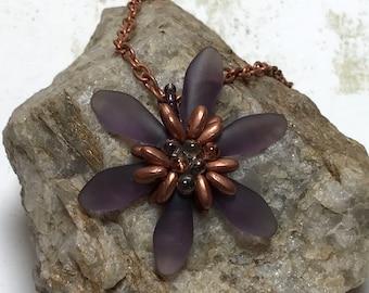 Beaded Flower Pendant Flower Pendant Dagger Bead Pendant Copper Bead Pendant Beadwoven Pendant Beaded Pendant Seed Bead Pendant