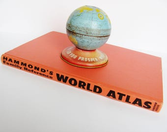 World Atlas Hammond's Family Reference 1963 Revised Color Illustrated Photos 256 Pages