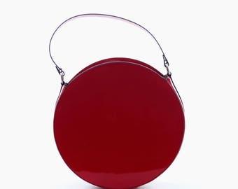 Red leather round bag, crossbody bag, circle bag, red leather purse, round shoulder bag, leather handbag, red purse, red bag, round bag