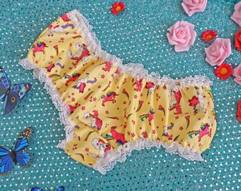 DDlg Panties - ABDL Panties - Yellow Pink Unicorn Knickers - DDlg - Adult Baby - Sissy Lingerie - Sissy Boy - Frilly Knickers Pants