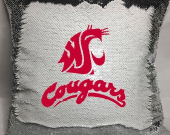 WSU Cougars Sequin Pillow
