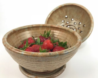 Berry Bowl with Saucer - Ceramic Colander - Pottery Fruit Bowl - Handmade Bowl for Berries and Grapes