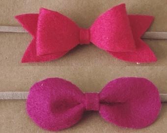 Set of 2 Medium Round Felt Bow Headbands