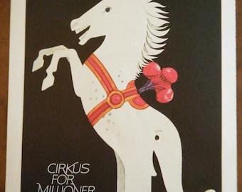 Vintage Circus Poster - Half Horse Half Elephant Vintage Poster Size Book Plate Benneweis Cirkus for Milloner 1971