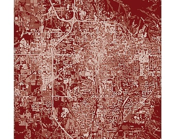 Bloomington Cityscape / Indiana City Map Art Print Grad Gift / Choose your color / 8x10 / Abstract Wall Art