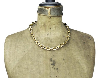 Chunky Gold Chain Necklace, Wide Gold Necklace, Wide Gold Chain Necklace, Heavy Gold Necklace