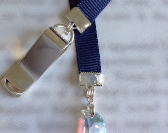 Crystal Moon Bookmark - Attach clip to book cover then mark the page with the ribbon. Never lose your bookmark!