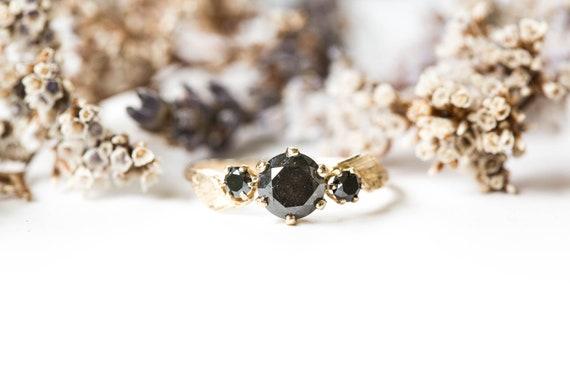 Black diamond 14k gold leaf twig engagement ring, grey diamond engagement ring, diamond twig engagement ring, 14k gold leaf ring, diamond