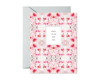 LOVE is in THE AIR Coral Red Soft Grey Tiled Marble Greeting Card / Valentine's Day / Wedding / Anniversary