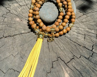 CITRINE & JASPER Mala Beads with YELLOW Suede Tassel | 108 Bead Crystal Mala Yoga Necklace | Om, Meditation Beads by Mayan Rose MayanRose