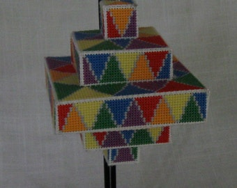 Handmade completed 3D cross stitch ornament