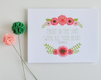 Coral, Pink, Floral, Flowers Scripture 8 x 10 Art Print, Trust In The Lord, Quote, Bible Verse, Proverbs