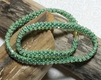 Green Wrap Bracelet Wrap Beaded Bracelet Double Wrap Bracelet Bead Weave Bracelet Green Bead Bracelet Size 6 3/4 Bracelet
