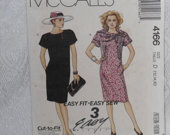 McCall's 4166 Pattern Misses' Straight Shift Dress & Scarf Day Evening Size 12 14 16 Easy Vintage 1980's
