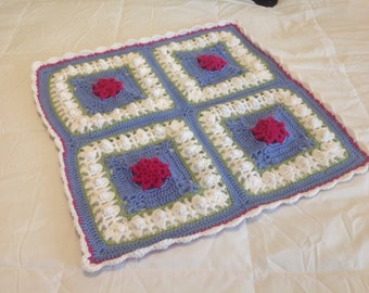 Beautiful Crochet Periwinkle and Pink Princess Baby Blanket Throw