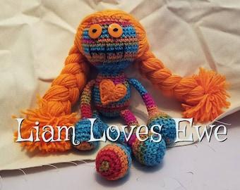 Zombie Doll. Crochet zombie doll. Great Christmas gift.  Great birthday gift.  Girl doll. Boy doll. rainbow doll.