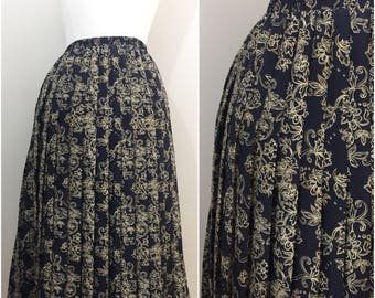 Navy Blue Leslie Fay Accordion Skirt with Gold and White Outlined Floral Design