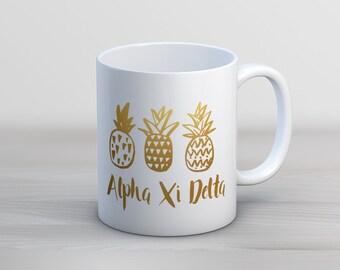 AXiD Alpha Xi Delta Faux Gold Foil Pineapple Mug Sorority Coffee Mug