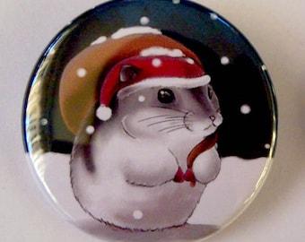 Santa Claus Hamster Pinback Button