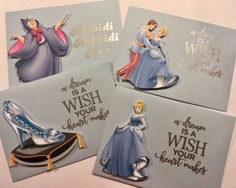 Cinderella Party Envelopes, Cinderella Embellished Lined Envelopes, Cinderella Lined Party Envelopes, Blue Envelopes