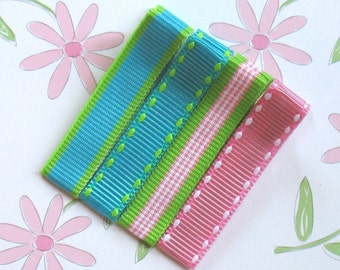 LiliBug Preppy Stripes Collection Hair Clippie Set of 4