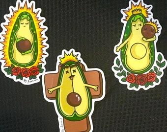 Sacred avocado sticker pack (3stickers)