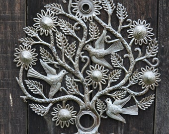 "Tree of Life, Lid of a Barrel, Garden Metal Wall Art, Fair trade from Haiti, 23"" X 23"""