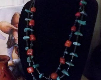 Striking Southwest Turquoise and Coral and Heishe Necklace