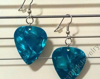 Turquoise/Aqua Pearl Genuine Guitar Pick Earrings
