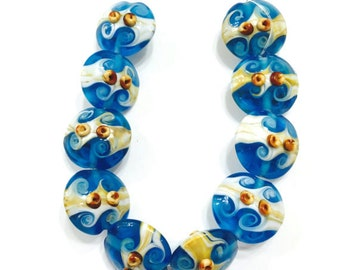 10 pieces 20mm Blue Lampwork Glass Beads, Beach Beads, Ocean Beads