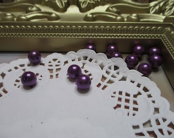 Vintage 8mm Eggplant Purple Pearl Round Beads-Costume-Old Stock-Made in Japan