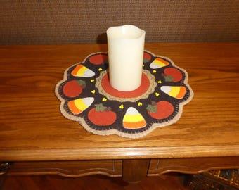 Fall decoration, candy corn, pumpkins, wool blend candlemat, orange, yellow, black, beige, holiday decoration, housewarming gift