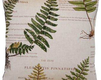 Fern Botanical Printed Cushion Cover Grey Green Colours Variation of Size