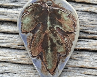 Ceramic Pendant  Rustic Crysanthemum Leaf  Stoneware by Mary Harding