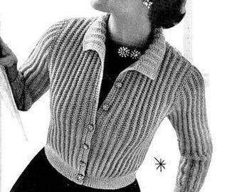 Shorty Cardigan Sweater Knitting Pattern 726082