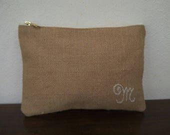 PERSONALIZED clutch /cream Burlap lace Bag/ Bridesmaids Clutch/iphone case/make up purse/zipper purse,travel bag