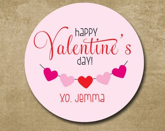 Personalized, valentine's day sticker, heart sticker, kids gift labels, Pink & Red, kids classroom treats