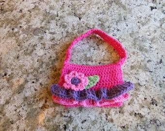 Crochet ruffle flower purse