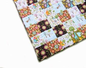 Baby quilt, thin summer quilt, patchwork throw, playmat - gender neutral - green brown orange