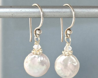 Coin Pearl Earrings - Small Coin Pearls - White Coin Pearls - Coin Pearl Jewelry - Baroque Pearls