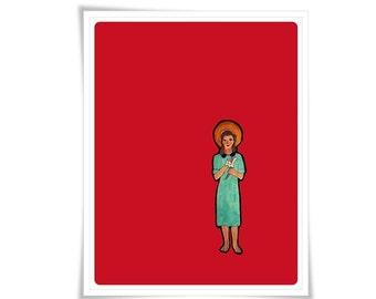 Saint Maria Goretti Poster Art Painting Illustration Religious Catholic Meditation Decor