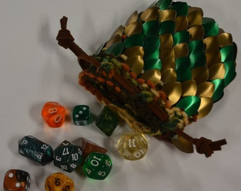 Scalemail Dice Bag Dragonhide Knitted Armor Bronze Forest size small