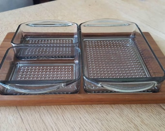 Luthje made in Denmark glass and teak tray, midcentury modern,  smokey glass