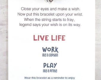 sailing boat charm bracelet, womens friendship bracelet, sailing gift for her, wish bracelet, gift idea for best friend, wax string bracelet