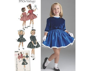 Sewing Pattern for Child's Vintage 1950s Dress and Lined Jacket, Girl Sizes 3-8, Simplicity Pattern 8306, Spring 2017 Line, Special Occasion